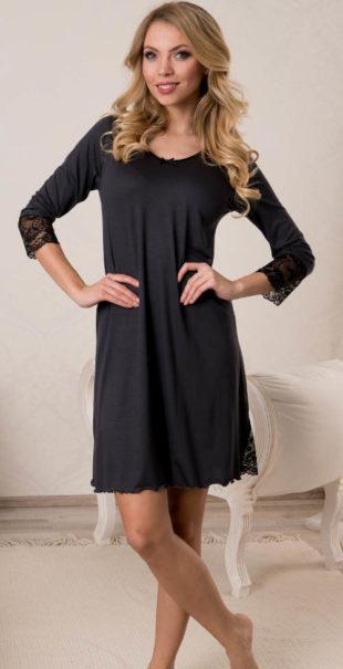 710e6457d396 Černá dámská noční košilka s krajkovými rukávy
