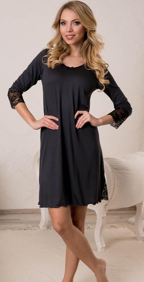 Černá dámská noční košilka s krajkovými rukávy