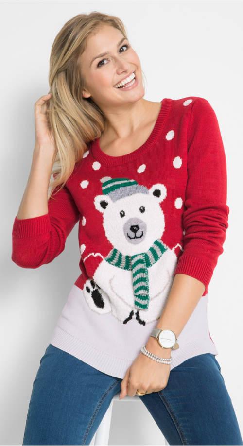 Červený dámský svetr s medvídkem