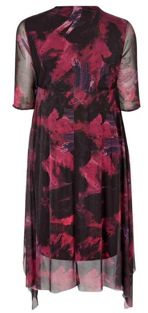Fialovo-černé plesové šaty pro plnoštíhlé