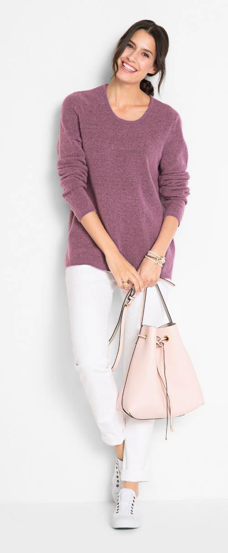 Fialový flaušový dámský svetr
