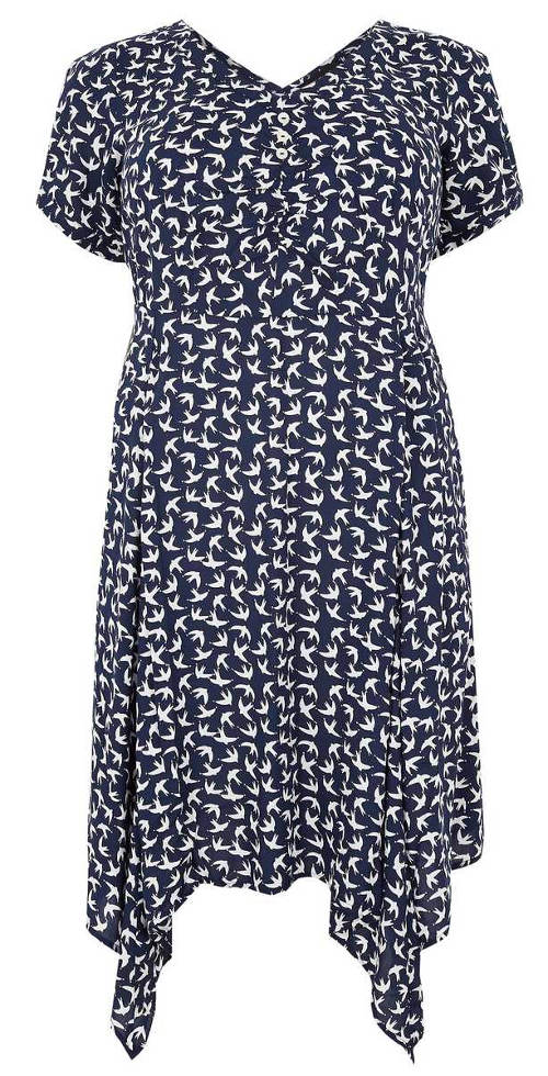 Modré letní šaty vhodné pro těhotné i plnoštíhlé