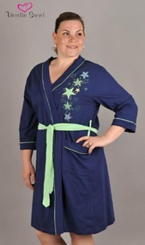 Modrý dámský župan s hvězdičkami