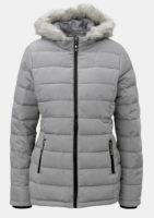 Šedá zimní prošívaná dámská bunda s umělým kožíškem