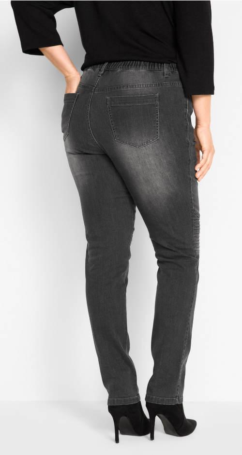 Šedé dámské džíny pro široké boky