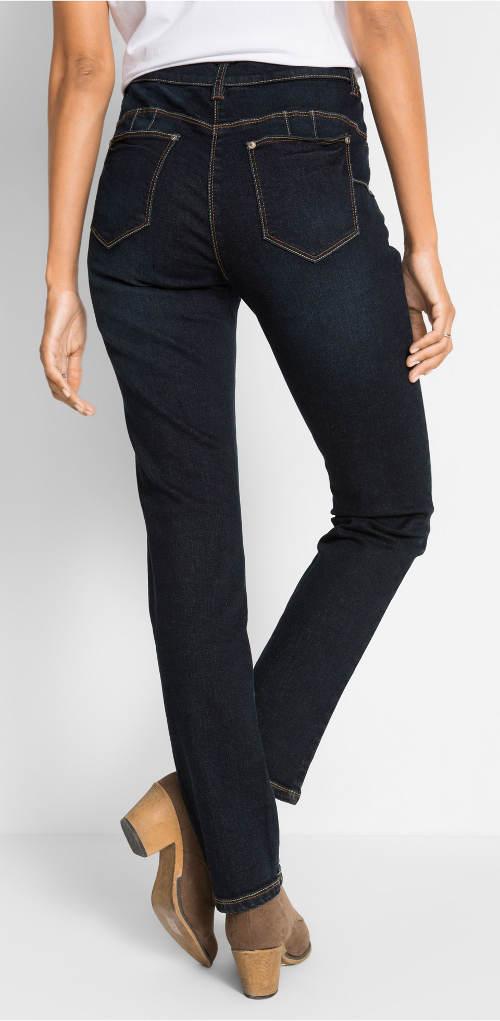 Stahovací džíny s postranní žebrovanou vsadkou