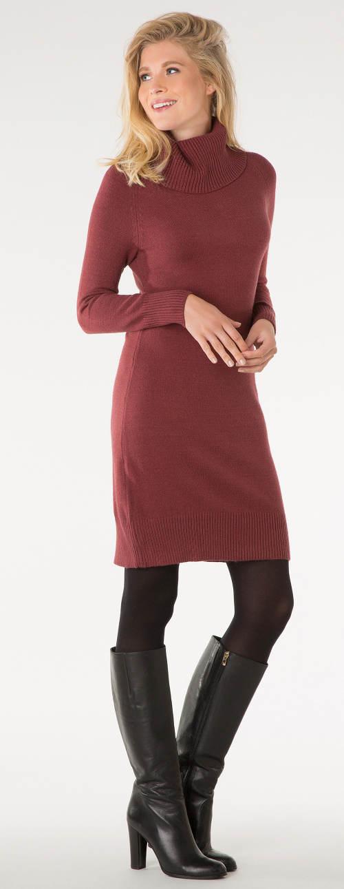 Teplé dámské šaty s rolákem