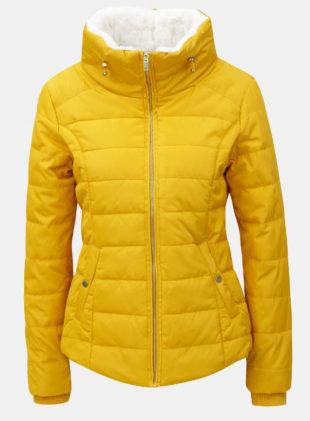 Žlutá dámská zimní prošívaná bunda s vysokým límcem