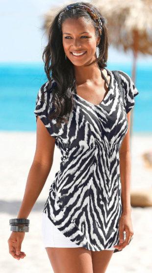 Asymetrické delší dámské tričko zebra