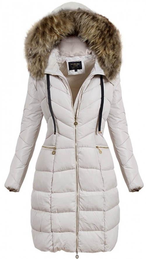 Béžová prodloužená dámská zimní bunda