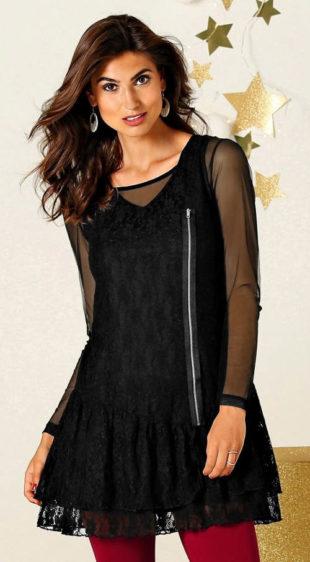 Černé krajkové tunikové šaty