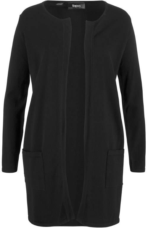 Černý dámský delší svetr bez zapínání