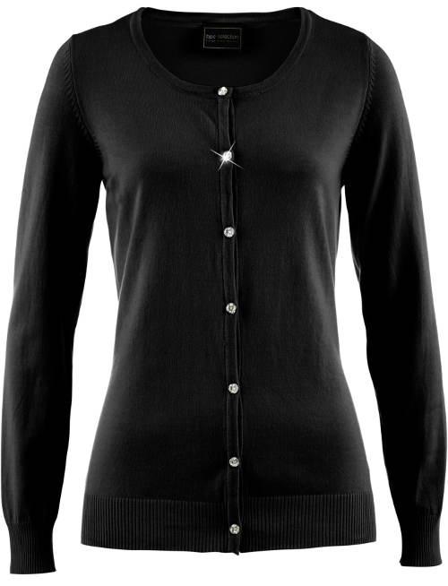 Černý dámský svetr se třpytivými ozdobnými knoflíky