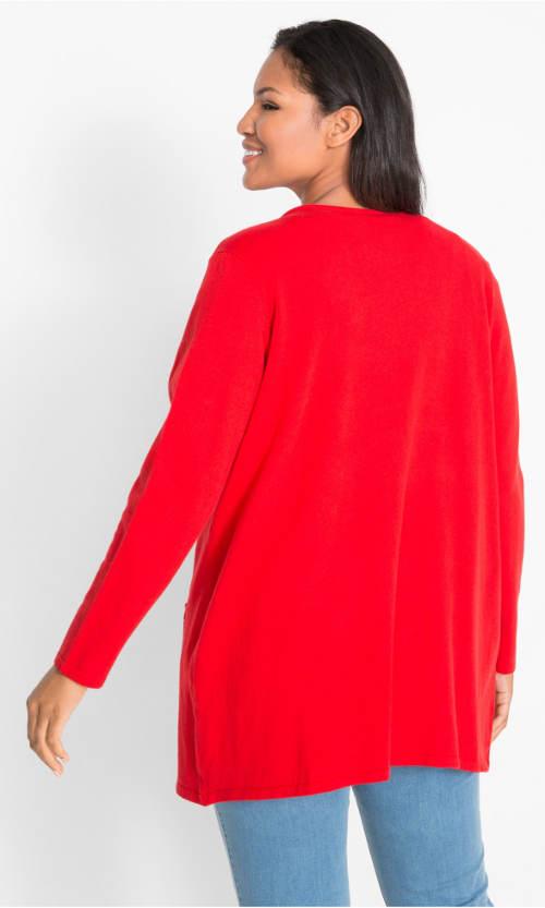 Červený dámský plus size svetr