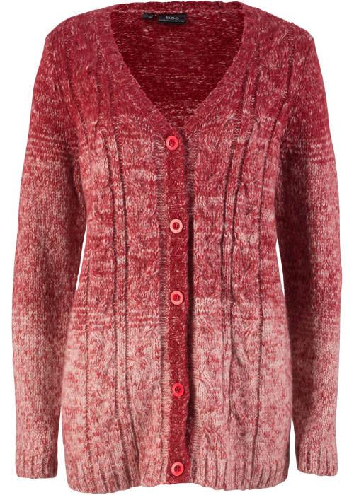 Červený zapínací zimní svetr pro plnoštíhlé
