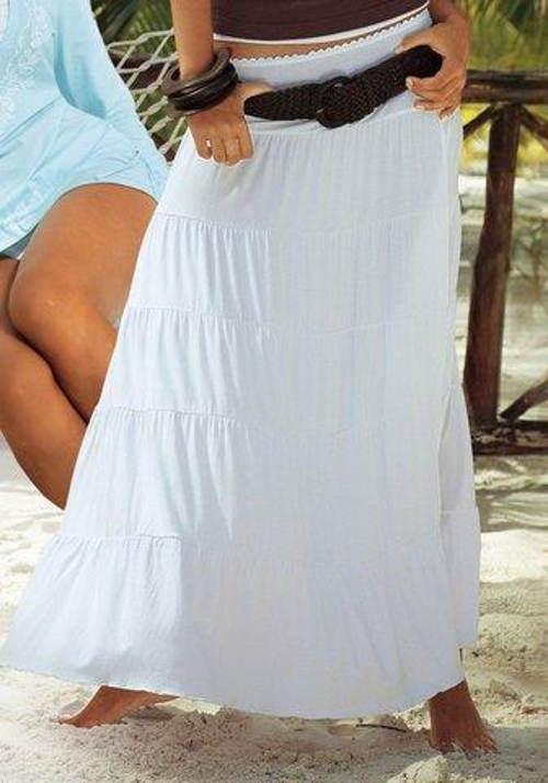 Dlouhá bílá letní sukně se splývavými volány