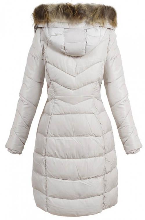 Dlouhá teplá dámská prošívaná bunda
