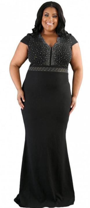 Dlouhé černé xxl šaty s vlečkou