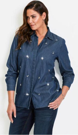 Džínová košile s lesklými kamínky