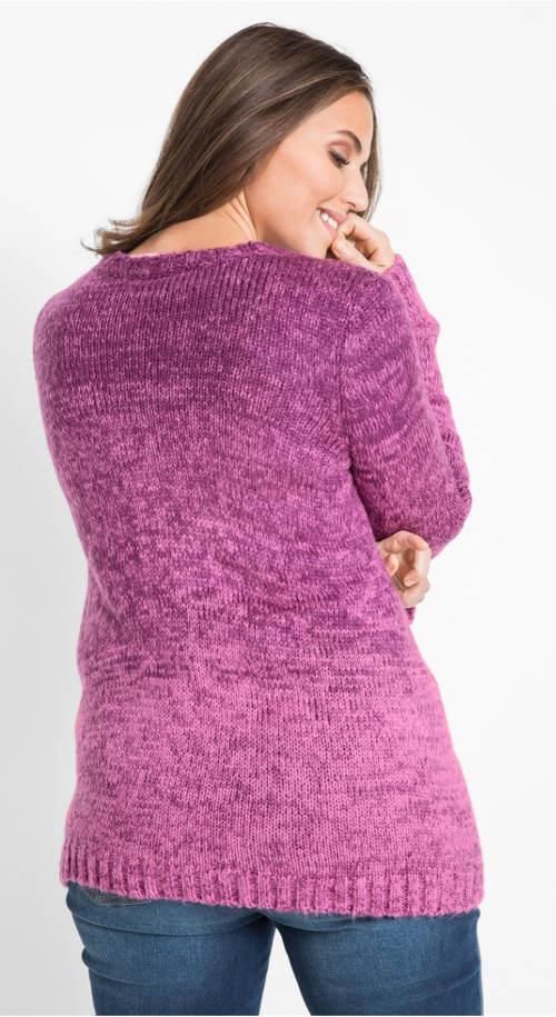 Fialový hřejivý dámský svetr