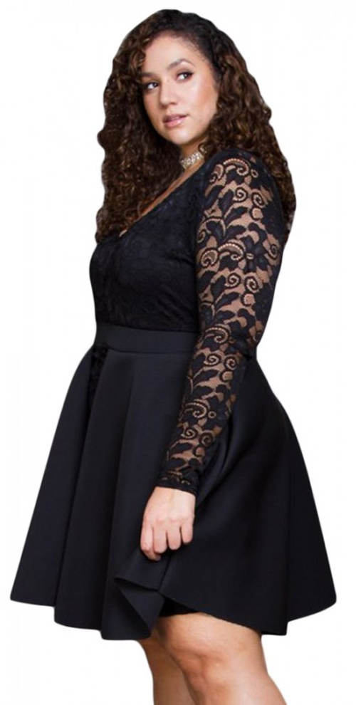 Krátké černé plesové šaty pro plnoštíhlé