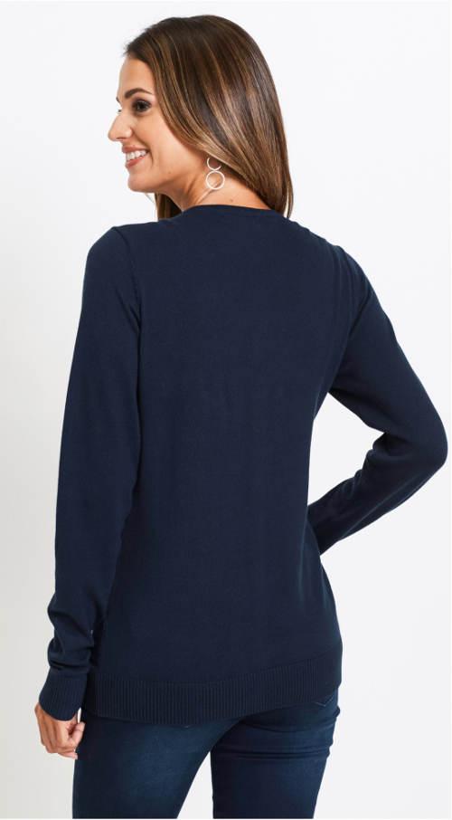 Lehký tmavě modrý dámský svetřík