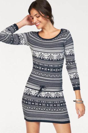 Pletené zimní šaty s norským vzorem