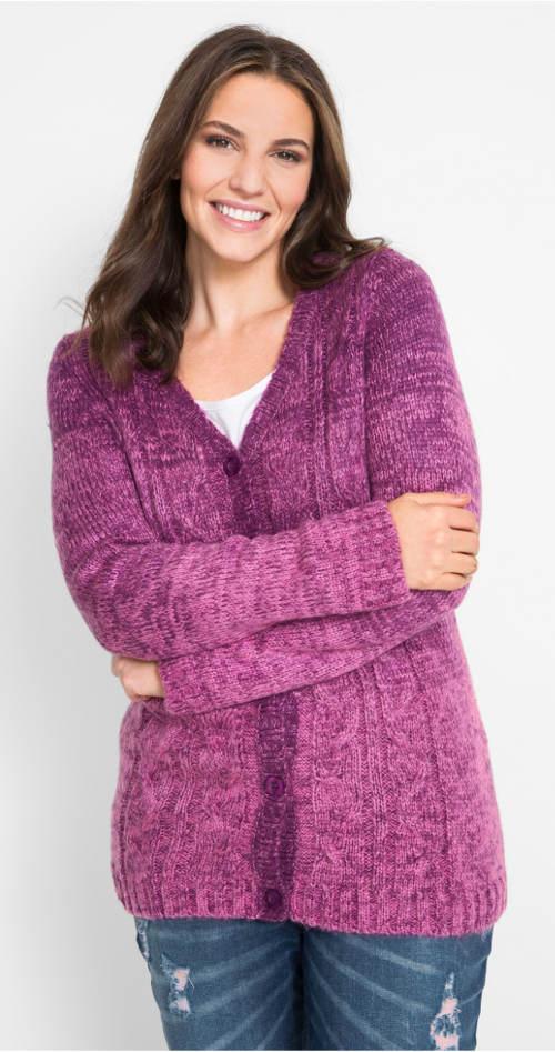 Pletený svetr na knoflíky pro plnější tvary