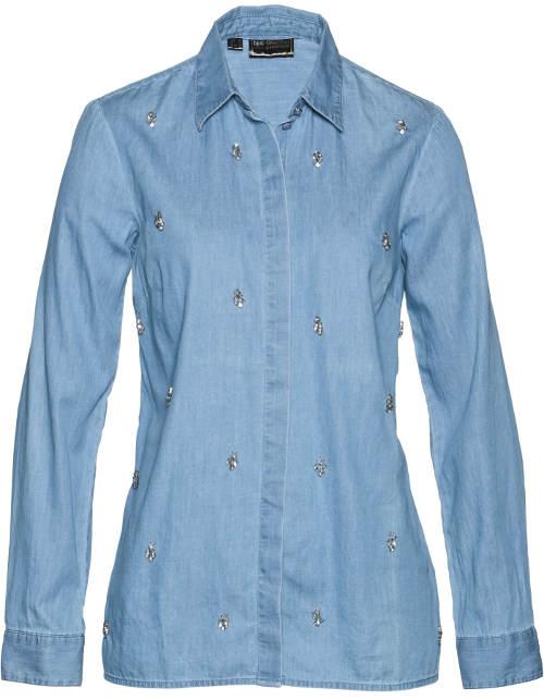 Světle modrá dámská džínová košile s kamínky
