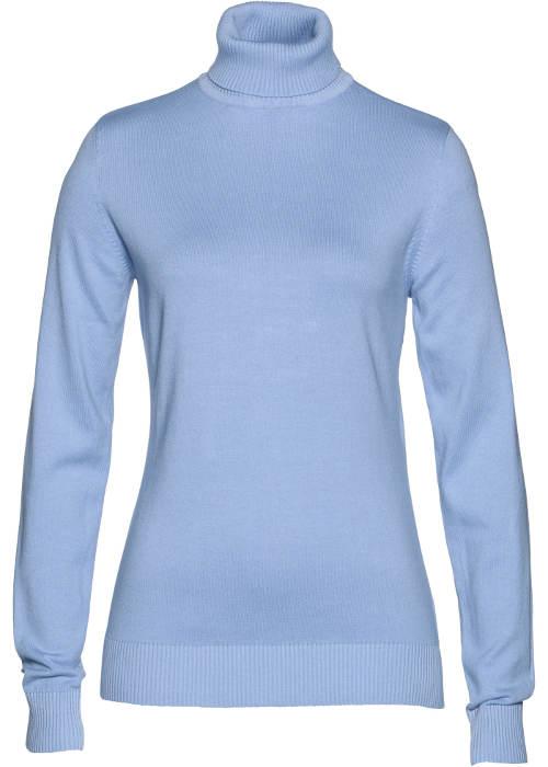 Světle modrý dámský pulovr s rolákem