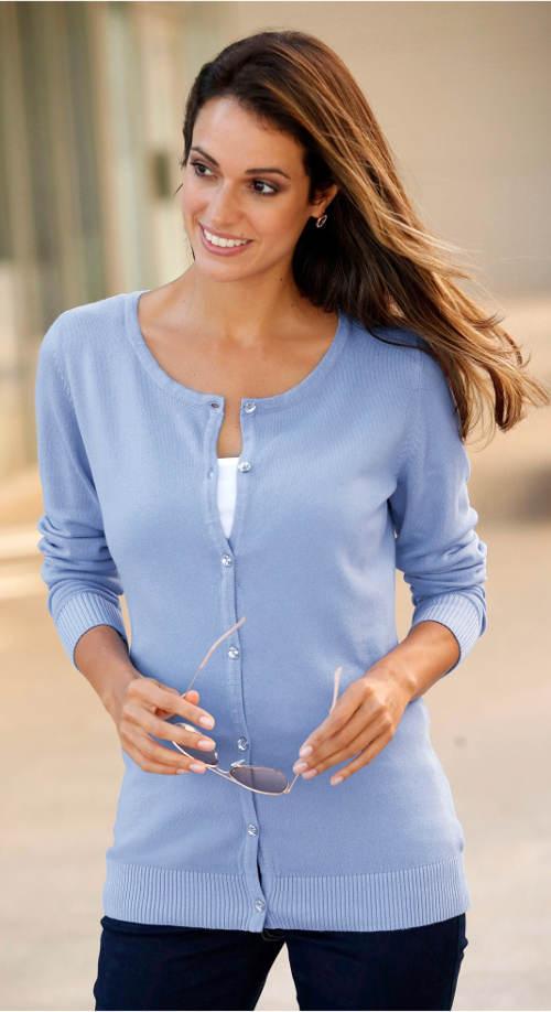 Světle modrý dámský svetr na knoflíky