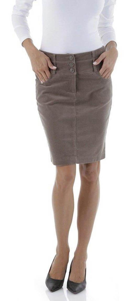 Úplá hnědá manšestrová sukně