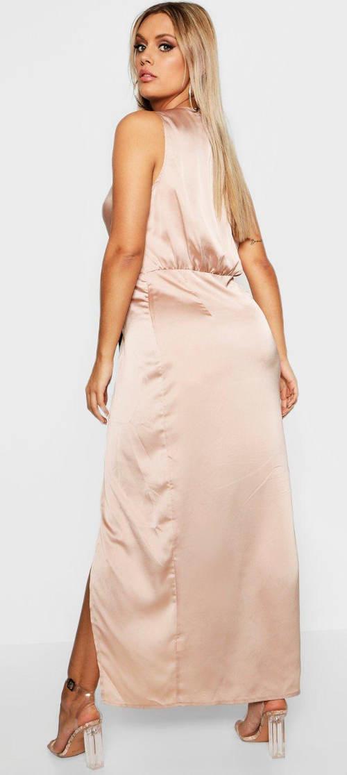 9c20d052a95a Béžové společenské maxi šaty. Šaty pro plnoštíhlé