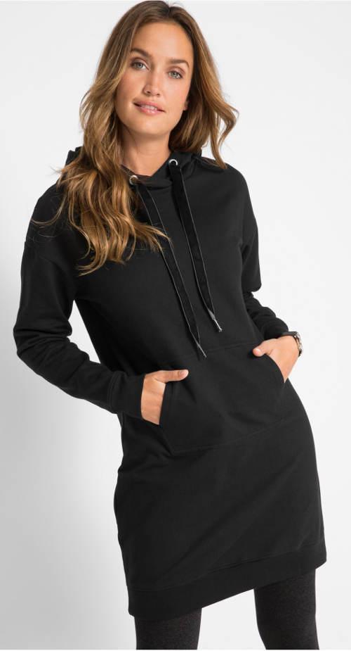 Černé dámské mikinové šaty