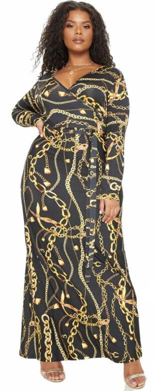 Černé zavinovací maxi šaty s potiskem zlatých řetízků