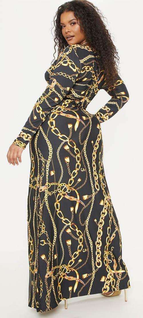 Černo-zlaté dlouhé společenské šaty