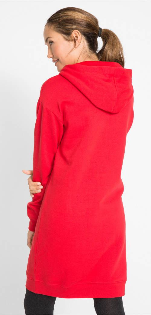Červené dámské zimní šaty s kapucí