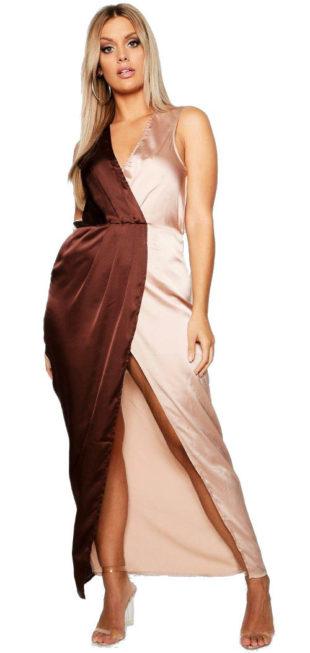 Luxusní saténové plesové šaty pro plnoštíhlé