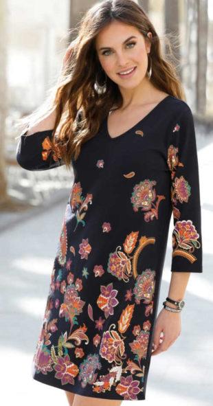 Meltonové šaty v orientálním designu