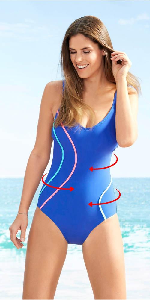 Modré jednodílné plavky s elastickým pásem