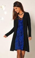 Modré krajkové společenské šaty