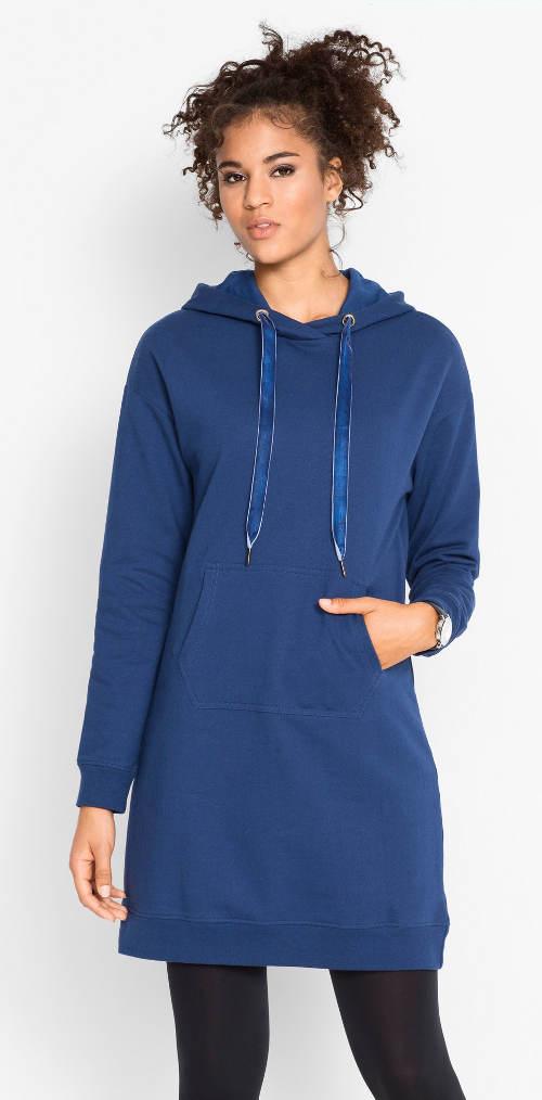 Modré úpletové šaty s velkou přední kapsou