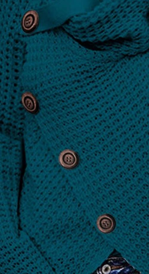 Modrý zimní zavinovací svetr