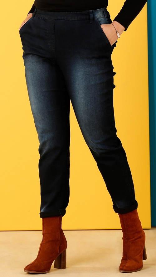 Riflové kalhoty pro plnoštíhlé s pružným pasem