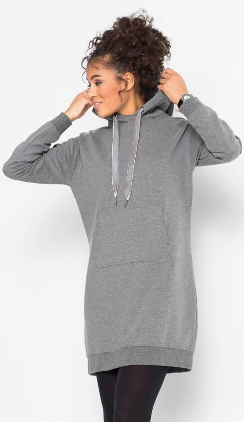 Teplé mikinové šaty s klokaní kapsou