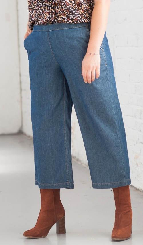 Tříčtvrteční široké riflové kalhoty