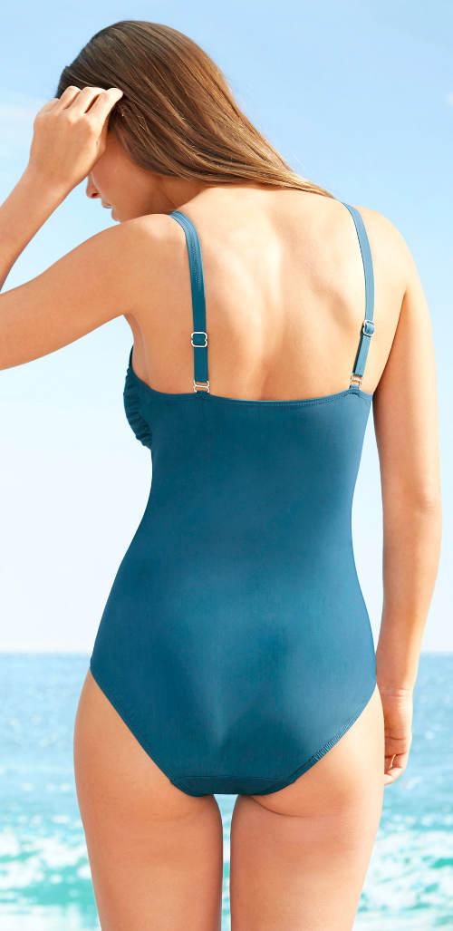 Tyrkysové jednodílné zeštíhlující plavky
