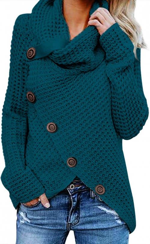 Tyrkysový zimní svetr s velkým límcem