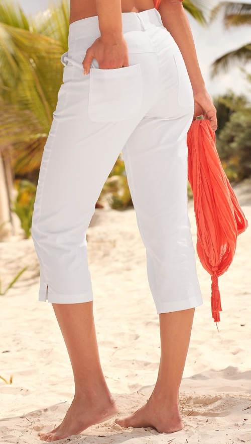 Bílé letní kalhoty pro plnoštíhlé