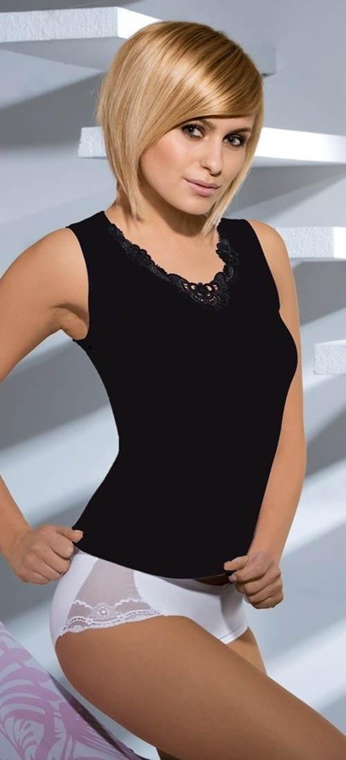 Černá dámská spodní košilka s krajkou
